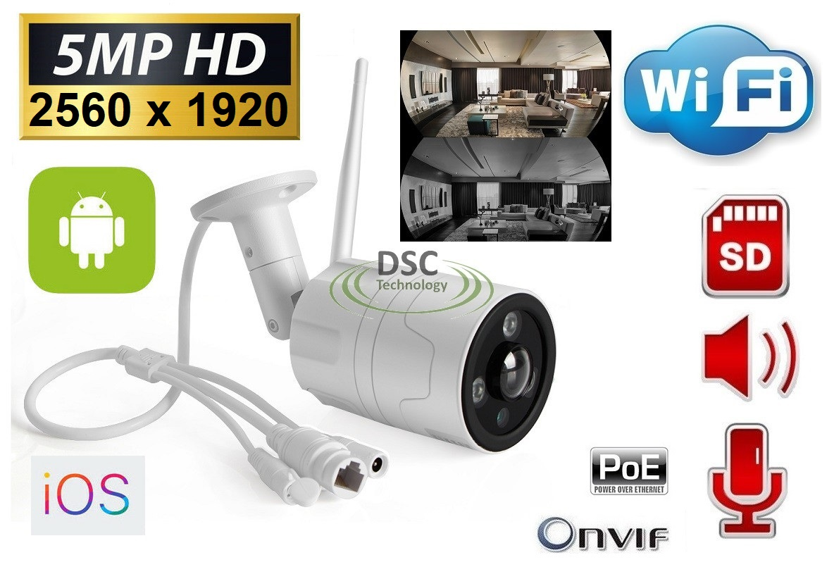 5.0MP Onvif WiFi Panoramic Audio IP Bullet Camera in/outdoor 12V