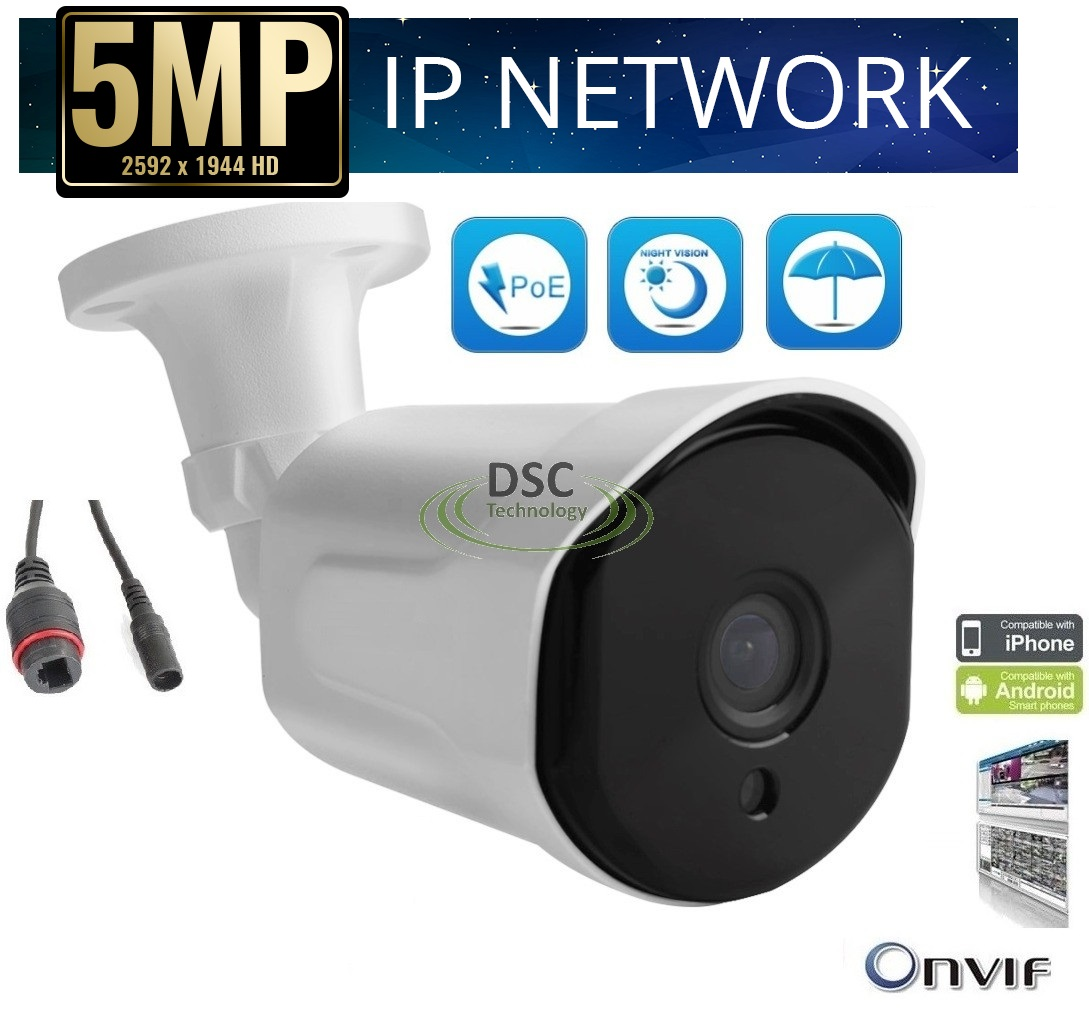 5MP PoE Security IP Camera Onvif P2P, NightVision, Onvif 3.6mm