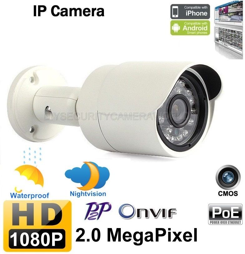 1080P 2.0MP POE Bullet IP Security Camera 3.6mm Lens Onvif