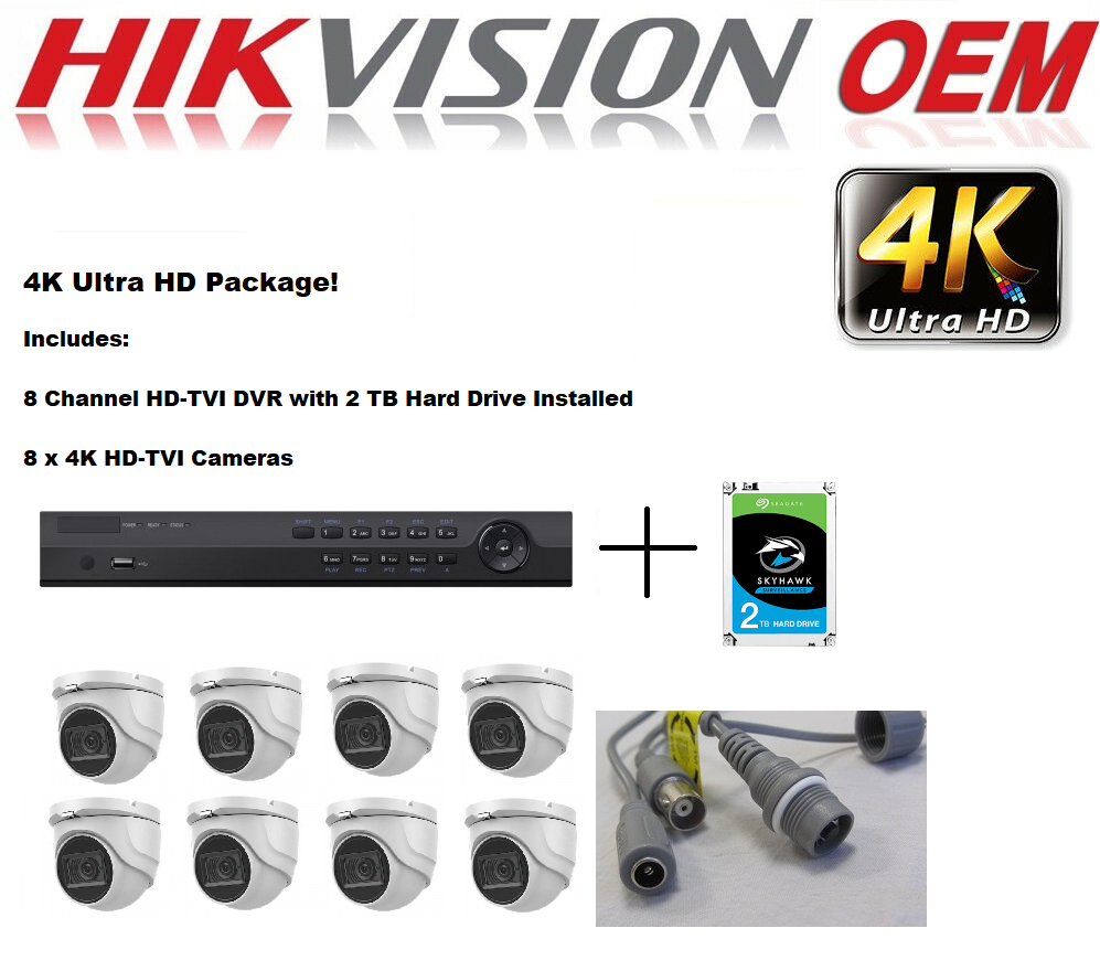 4K 8CH TVI DVR with 8PCS 4K TVI Dome Camera, 2TB HDD Installed
