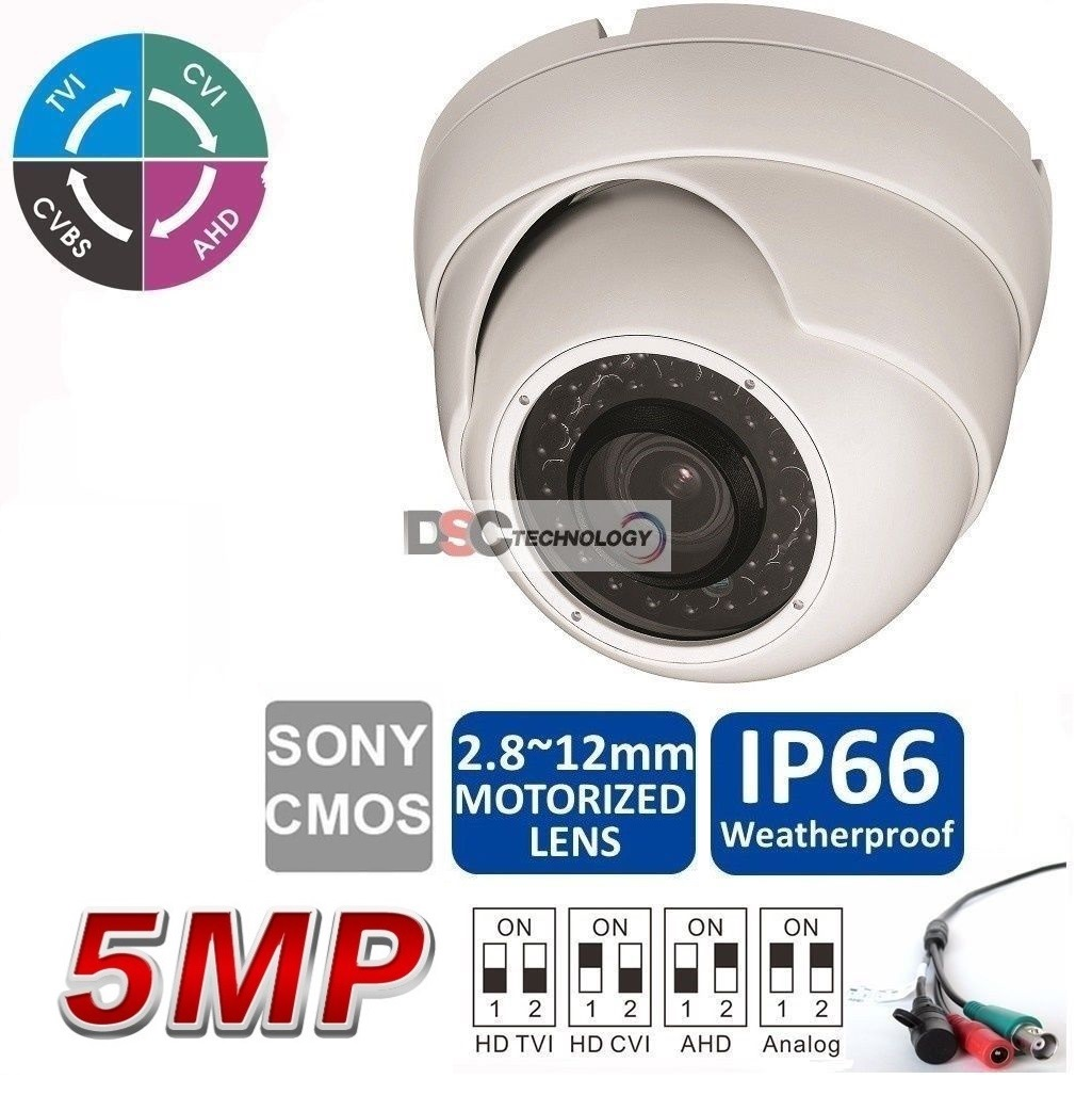 5MP 2.8-12mm Motorized Lens IR-Dome CVI/TVI/AHD Camera