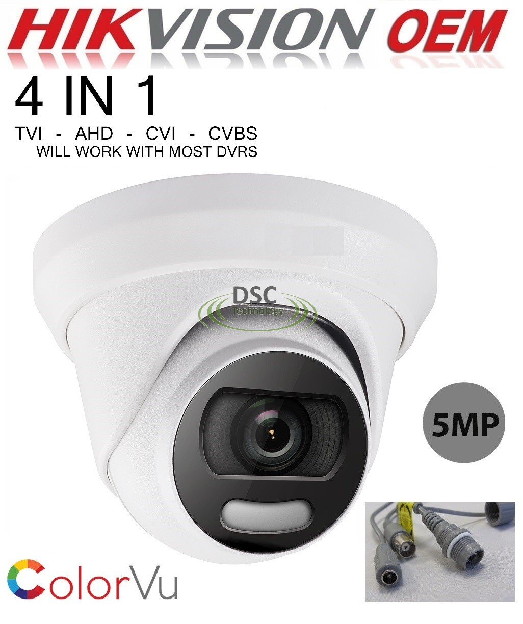 5MP ColorVu Fixed Turret Camera (switchable TVI/AHD/CVI/CVBS)