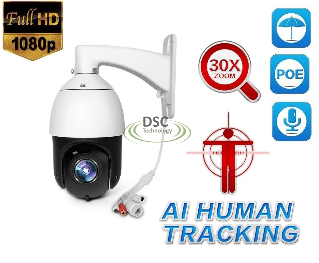 1080P PoE AI Human Body Face AUTO Tracking PTZ 30x Zoom Audio