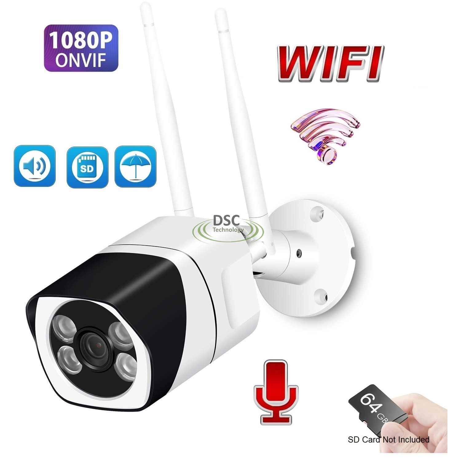 Two Way Audio Mini Wifi 1080P IR Bullet Camera Human 12VDC
