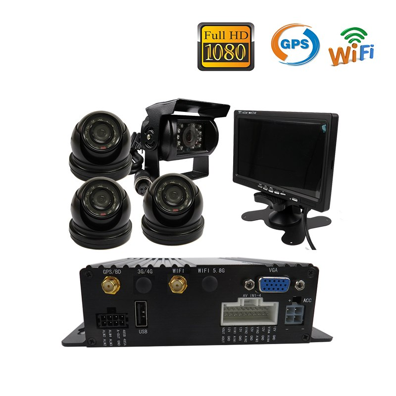 4 Channel Complete Car DVR Kit, DVR, Camera, Cable, Monitor