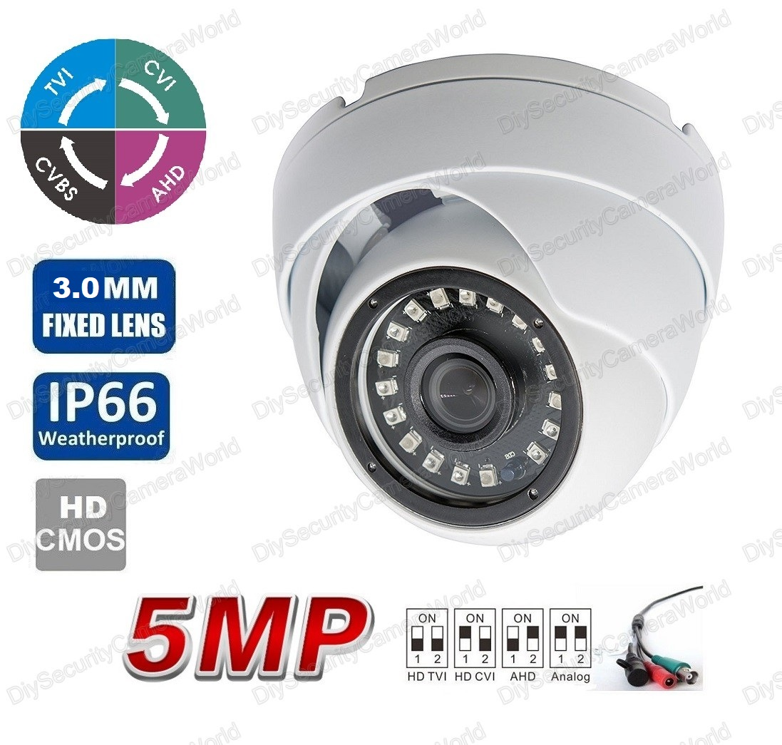 5MP (TVI/AHD)/ 4MP CVI HD IR Security Dome Camera 3.0mm Lens