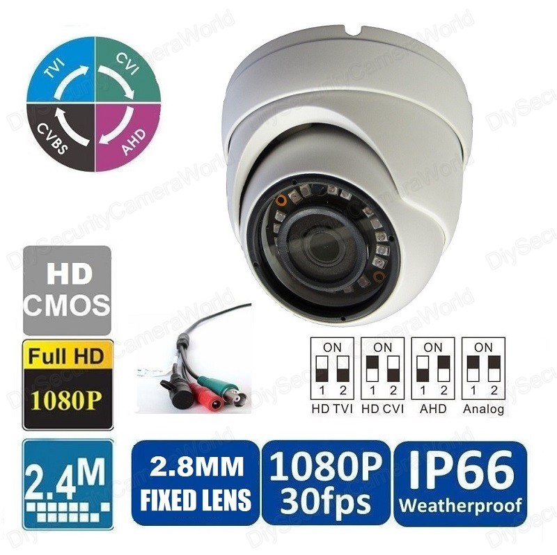HD 1080P Dome Camera 2.4MP Wide Angle Lens 2.8mm BNC 18IRs