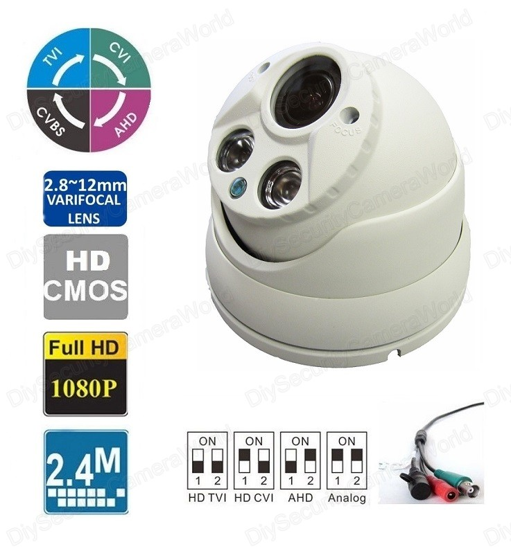 HD 2.4MP Varifocal 2.8-12mm lens Matrix IR Dome Camera