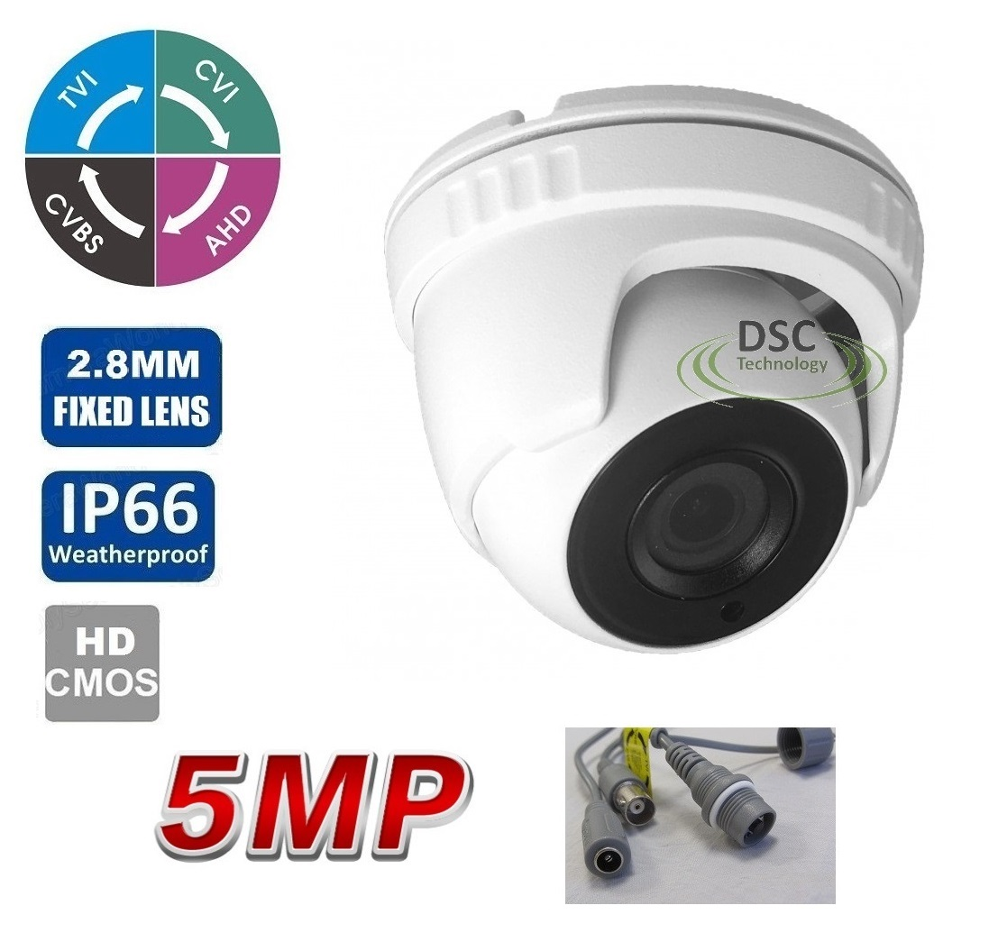 5MP (TVI)/ 4MP CVI AHD HD Matrix IR Security Dome Camera BNC