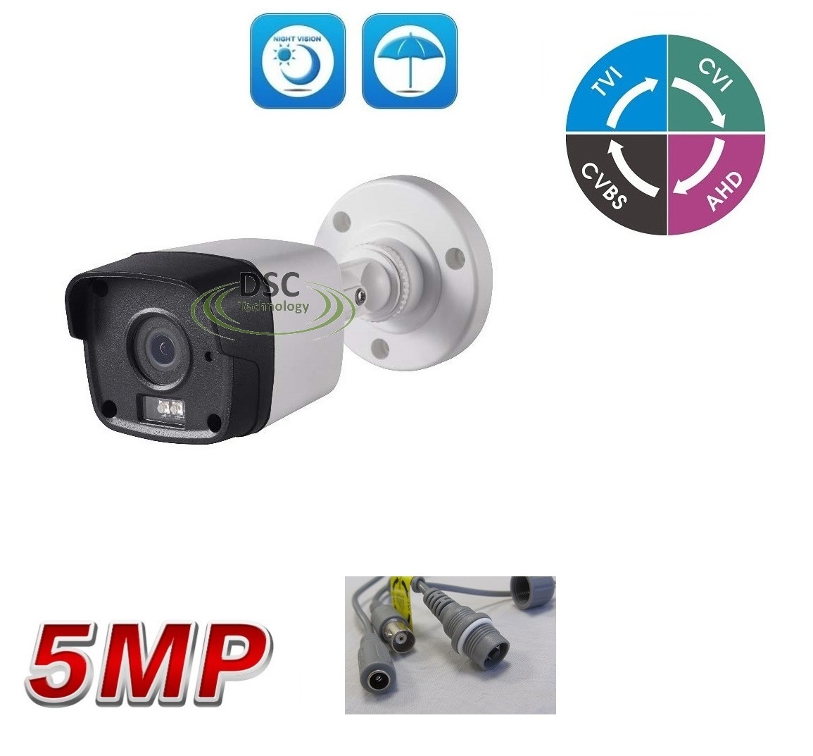 5MP (TVI)/ 4MP CVI AHD HD Matrix IR Security Bullet Camera BNC