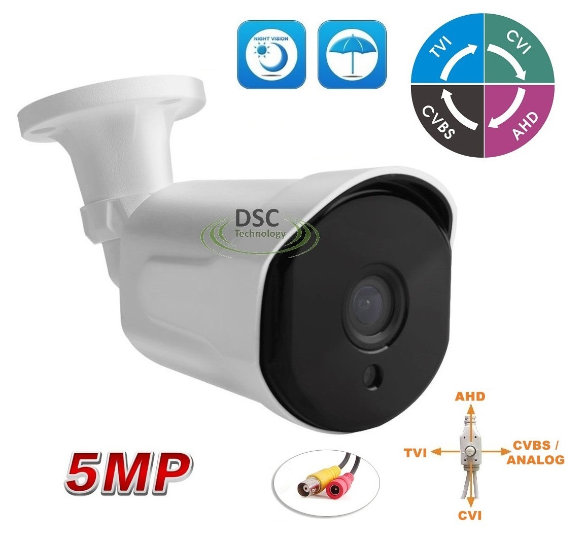 5MP (TVI/AHD)/ 4MP CVI HD IR Security Bullet Camera OSD Button