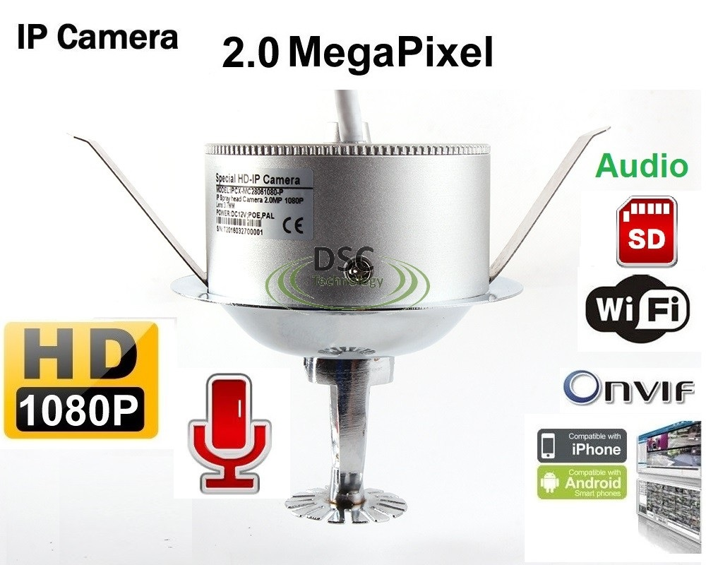 Fire Sprinkler Head 1080P Wifi/Audio/SD Slot IP Camera 2MP 1080P