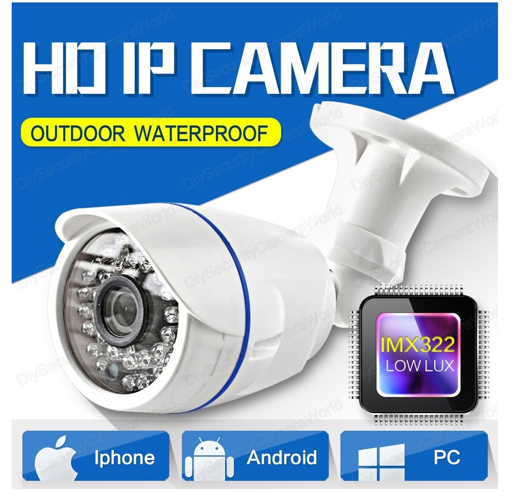 1080P 2.0MP Bullet IP Security Camera 3.6mm Lens Onvif 12VDC
