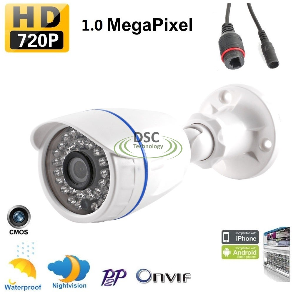 720P 1.0MP Bullet IP Security Camera 3.6mm Lens Onvif 12VDC