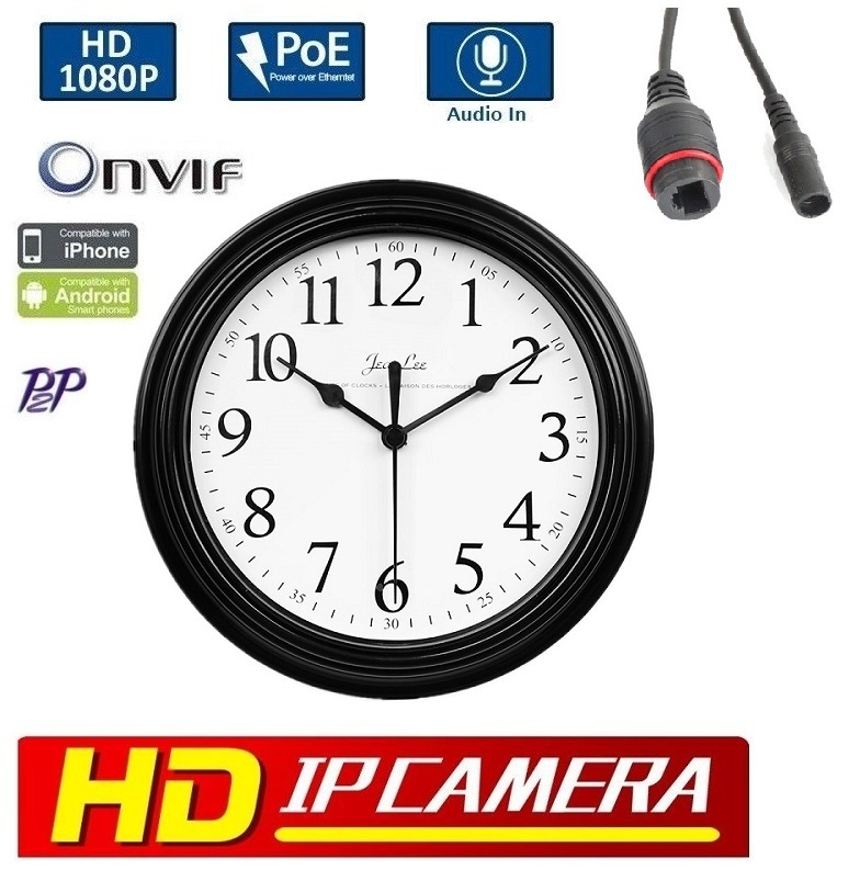 "9"" Wall Clock Style IP Hidden Camera 1080P, PoE/Onvif/audio"