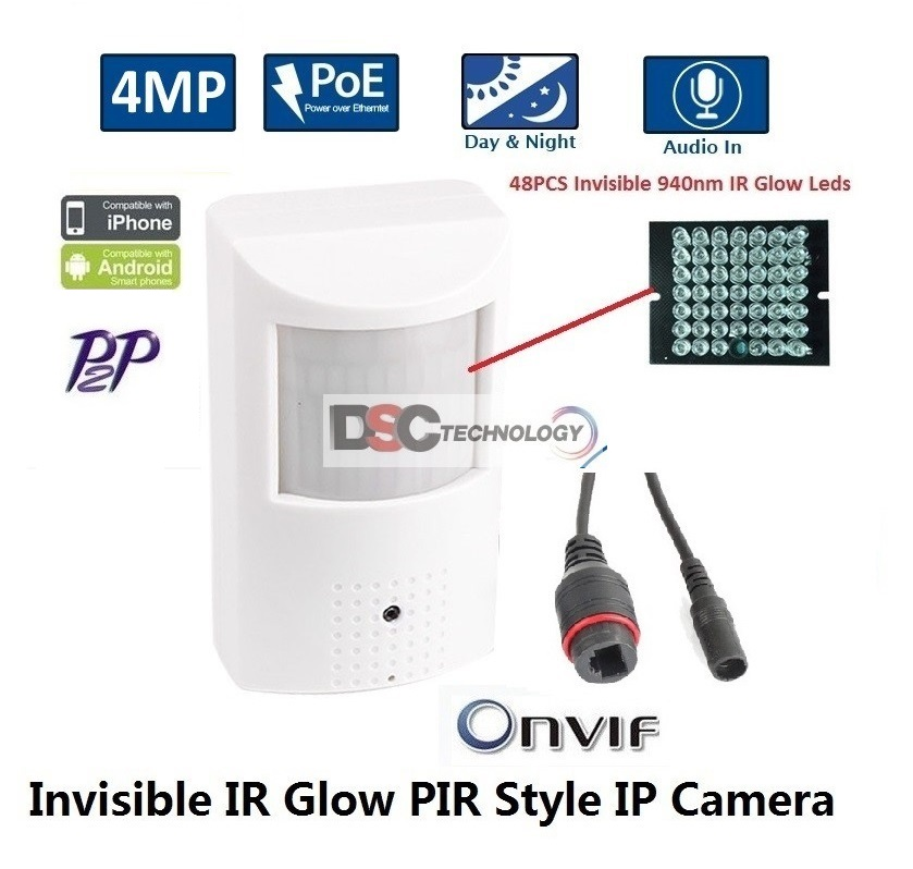4MP Indoor Audio Security PIR Style IP IR Camera 12VDC/PoE