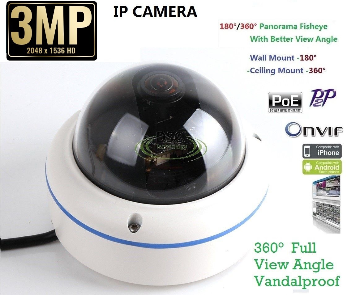 2MP In/Outdoor fisheye Panoramic Security Dome camera PoE Onvif