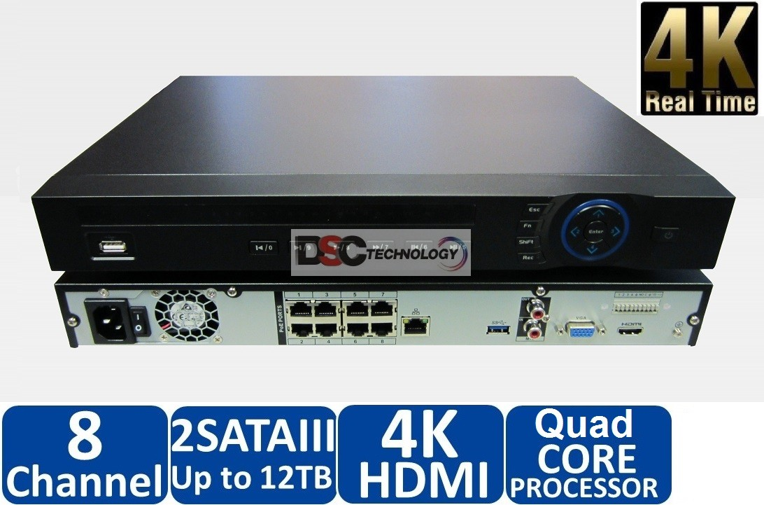 Dahua 4K 8 Channel PoE Network Video Recorder, NVR4208-8P-4KS2
