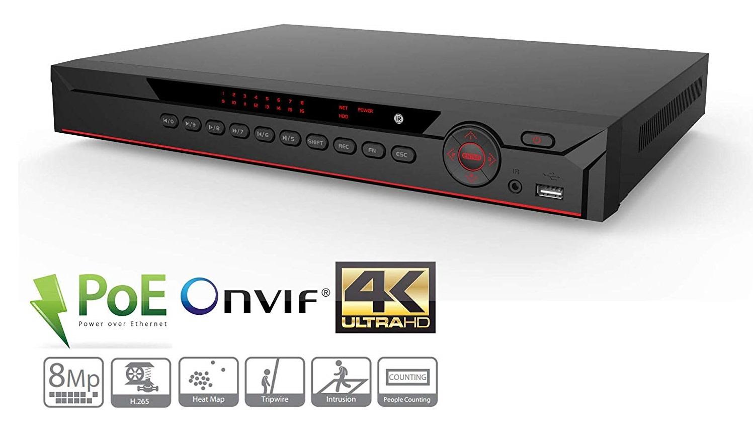 4K H.265 16 Channel 16 POE Ports NVR NVR4216-16P-4KS2 Network Video Recorder