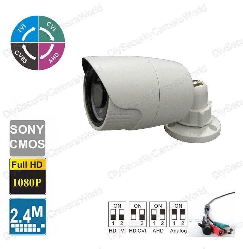 HD 1080P Bullet Camera 2.4MP Wide Angle Lens 2.8mm BNC 18IRs