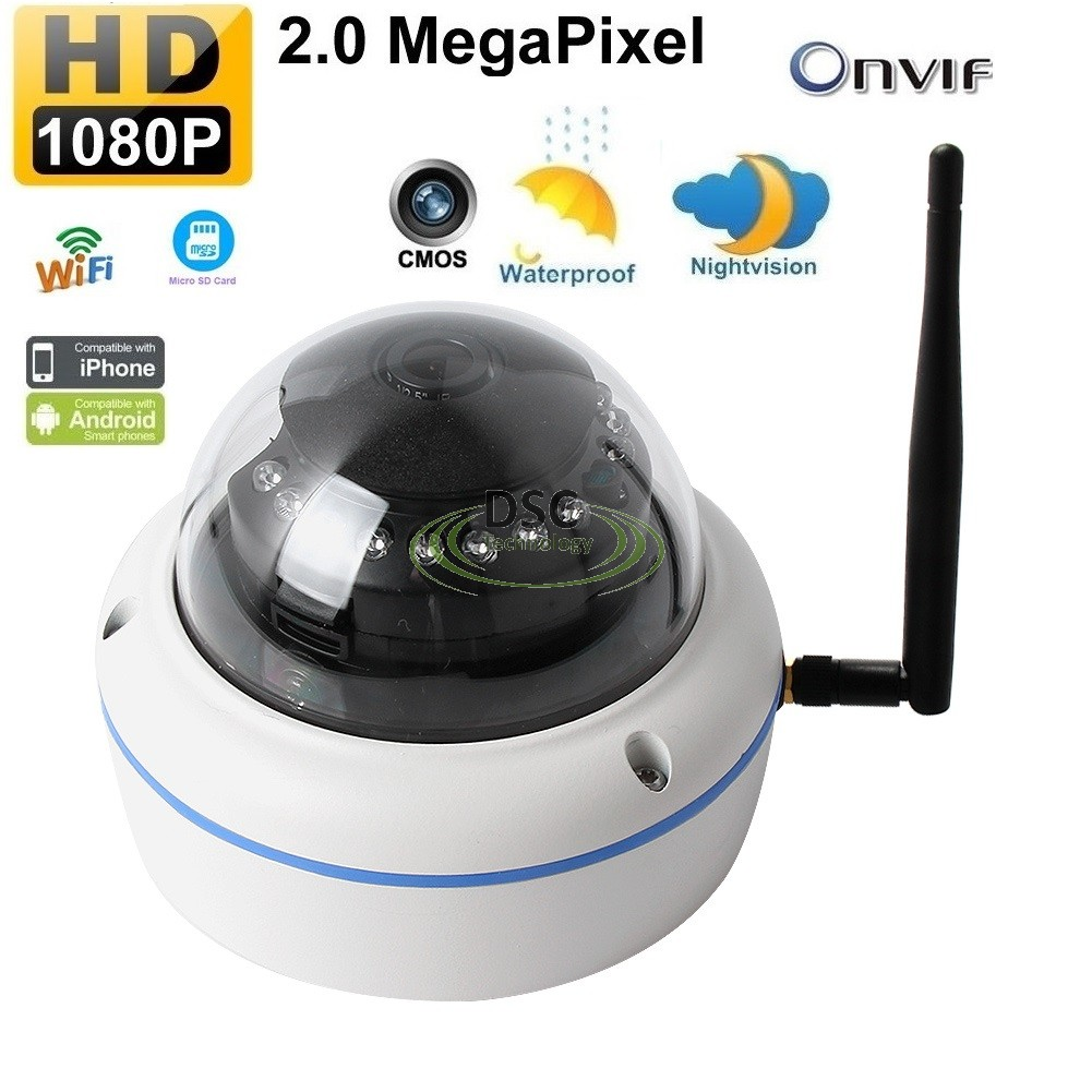 Onvif Wifi Wireless IP Dome Camera SD card Slot in/outdoor 12VDC