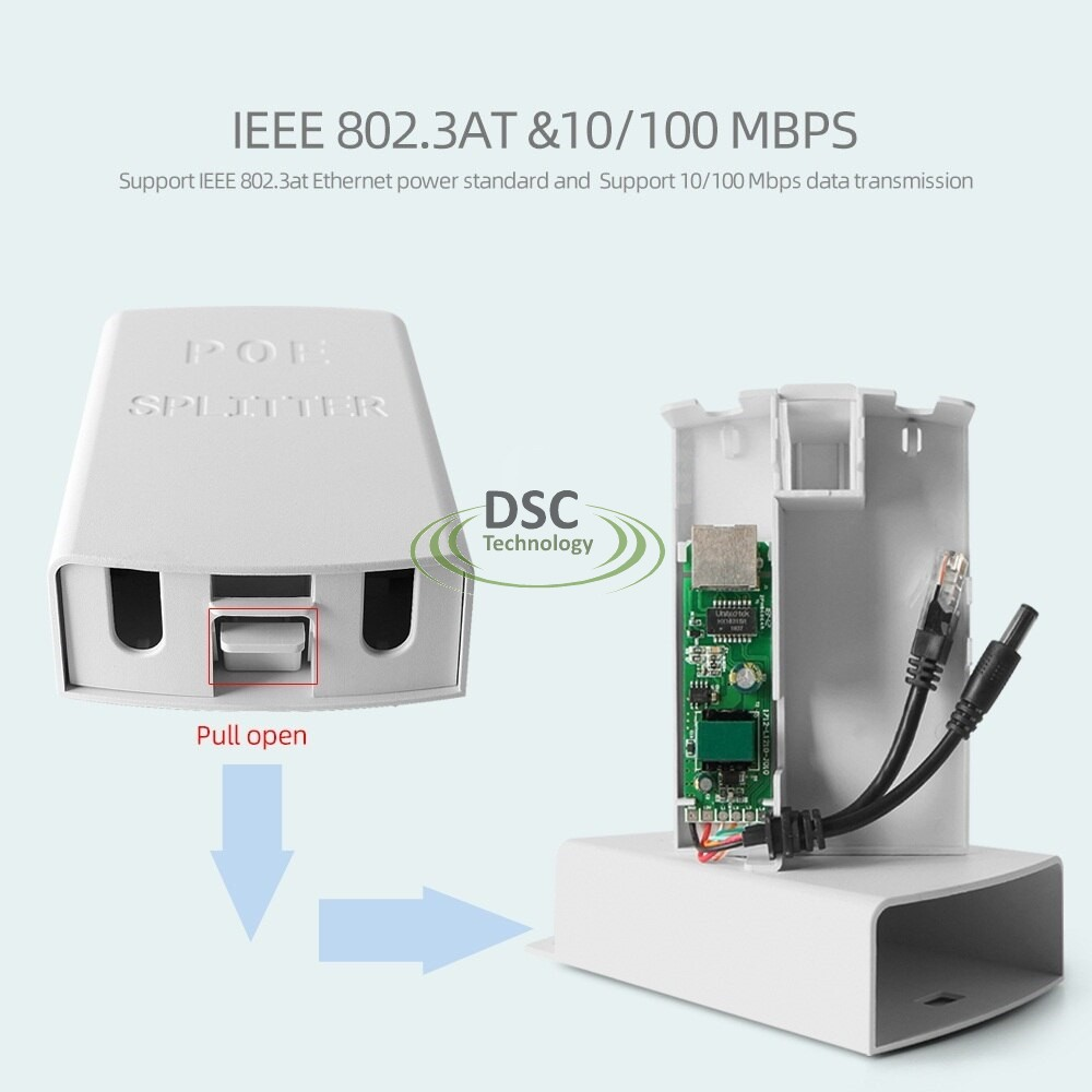 Outdoor 10/100M PoE Splitter IEEE 802.3af/at Standard to 12VDC