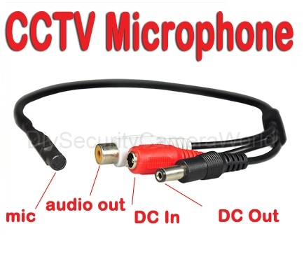 Wide Range Microphone for CCTV Security Camera DC output port